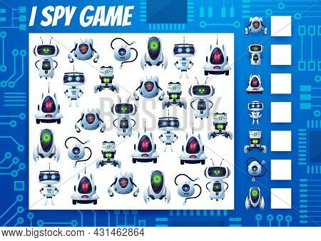 I Spy Kids Game, Cartoon Robots And Droids Riddle. Vector Task, Education Puzzle With Ai Cyborgs. Ho