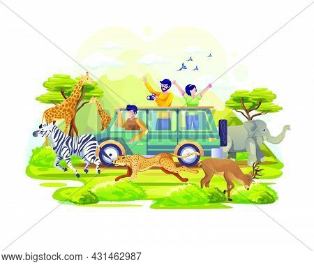 People Explore The Savanna In A Vehicle On World Animal Day. Animals On The Planet, Wildlife Day Wit