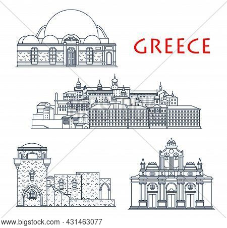 Greece Architecture, Antique Greek Buildings And Travel Landmarks, Vector Icons. Greece Building Of