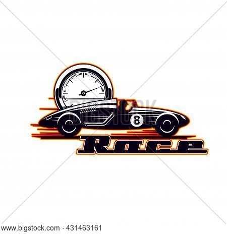 Car Racing Icon, Vintage Vehicle Races And Speed Rides, Vector Symbol. Old Motors And Sport Car Rall