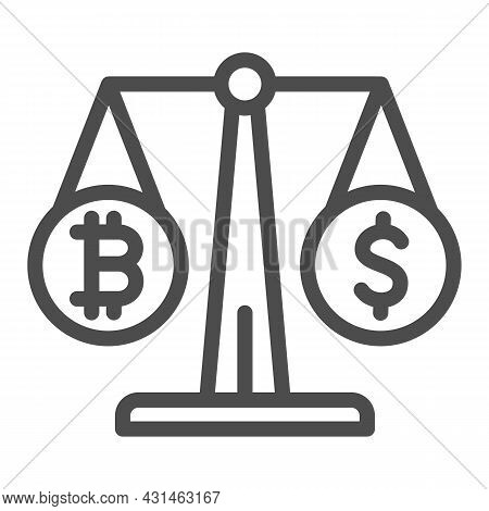 Equivalent Bitcoin And Dollar On Scales Line Icon, Cryptocurrency Concept, Btc Usd Vector Sign On Wh