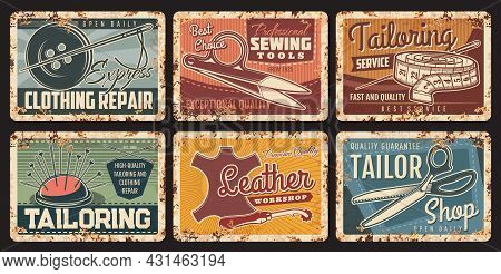 Tailor Sewing Shop, Metal Plates Rusty And Vintage Posters, Vector. Tailoring And Fashion Design Cra