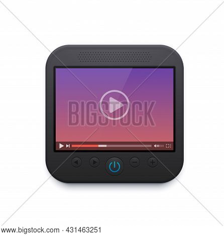 Movie And Video Player Interface Icon, Vector Ui Design, Play Button On Screen, Menu Bar, Slider, So