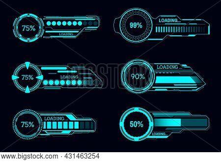 Hud Futuristic Loading Progress Bars, Sci Fi Vector User Interface. Game Ui Digital Screen Or Contro