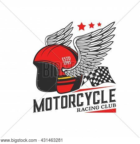 Racing Helmet With Wings Icon. Motorcycle Race, Motocross Or Biker Club, Motorsport Competition Vint