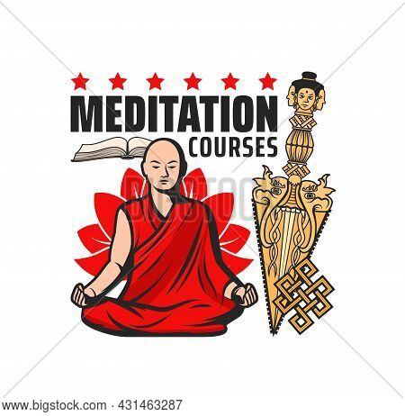 Buddhism Meditation Courses Vector Icon With Isolated Buddhist Religion Symbols. Monk Meditating In