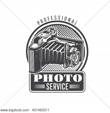 Photo Service Icon With Vintage Folding Camera. Professional Photography Equipment, Retro Cameras Re