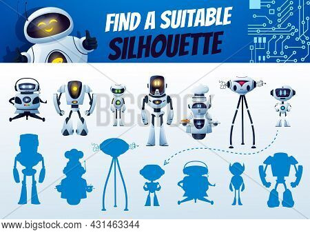 Find A Robot Silhouette Maze Game. Kids Shadow Match Vector Riddle, Search Correct Cyborg Shade. Chi
