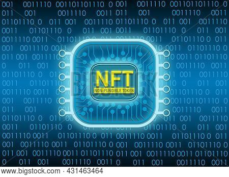 Nft Non Fungible Tokens Concept On Technology Background. Pay For Unique Collectibles In Games Or Ar