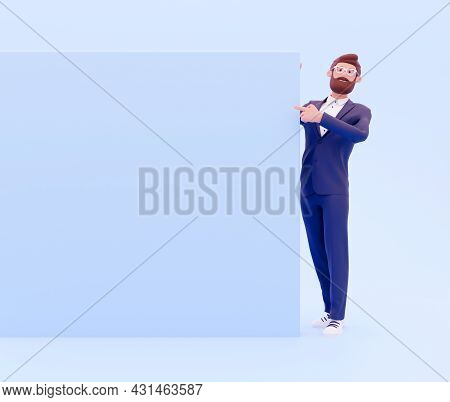 3d Rendering Businessman Paper Or Sign Isolated On Blue, With Plenty Of Copy Space. 3d Chraracter Wi