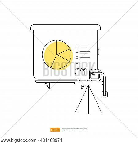 Outline Line Style Pie Diagram On Whiteboard Canvas Screen With Projector For Presentation Seminar I
