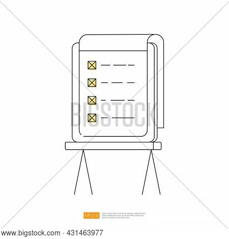 Stand Whiteboard With Checklist Mark Or Checbox Mark On Paper Board. Outline Line Style Vector Illus