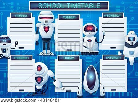 Timetable Schedule With Cartoon Robots, Vector Weekly Lessons Planner Template. Kids Time Table With