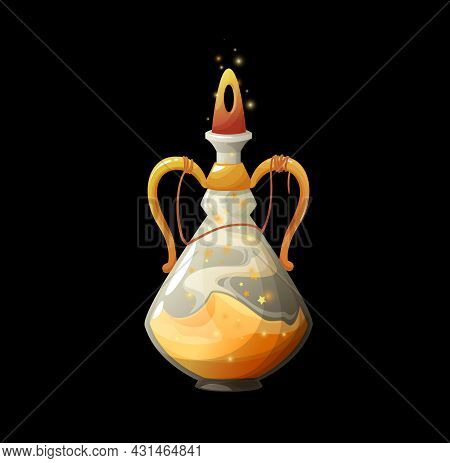 Cartoon Potion Bottle With Golden Dust, Vector Magic Elixir In Glass Flask With Sparkling Stars And