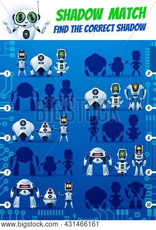 Shadow Match Kids Game, Funny Robots On Motherboard. Find Correct Cyborg Silhouettes Vector Riddle.