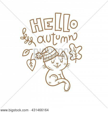 Autumn Card With Cute Cartoon Cat. Kitten In Hat With Leaves. Illustration For Children. Vector Outl