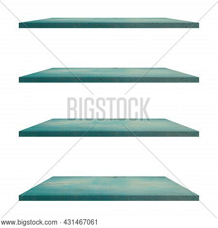 4 Wood Shelves Table Isolated On White Background And Display Montage For Product.