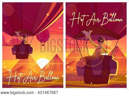 Hot Air Balloon Posters With Man And Dove Fly Above Fields In Mountain Valley At Sunset. Vector Flye
