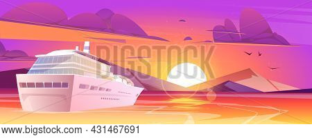 Cruise Ship In Sea With Mountains At Sunset. Luxury Vacation On Cruise Liner. Vector Cartoon Illustr