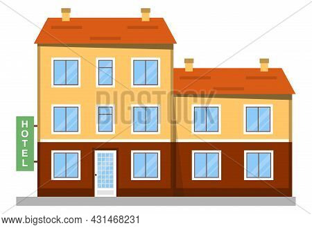 Hotel, Hotel Icon. Hotel Building In Retro Style On A White Background. Vector, Cartoon Illustration