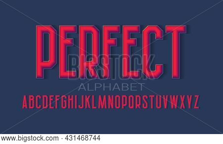 Perfect Alphabet Of 3d Letters With Shadow. Volumetric Display Font. Isolated English Alphabet.