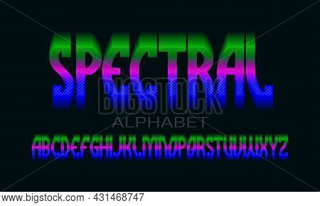 Spectral Alphabet Of Iridescent Vibrant Letters. Colorful Display Font. Isolated English Alphabet.