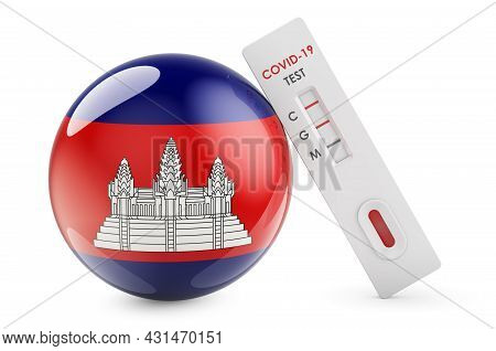 Diagnostic Test For Coronavirus In Cambodia. Antibody Test Covid-19 With Cambodian Flag, 3d Renderin