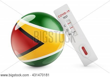 Diagnostic Test For Coronavirus In Gayana. Antibody Test Covid-19 With Guyanese Flag, 3d Rendering I