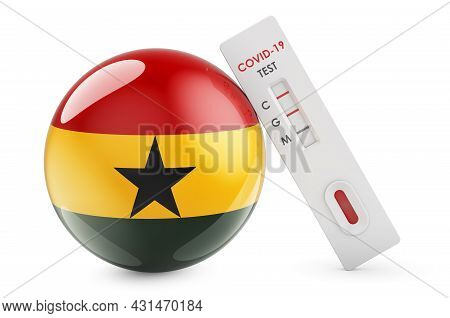Diagnostic Test For Coronavirus In Ghana. Antibody Test Covid-19 With Ghanaian Flag, 3d Rendering Is