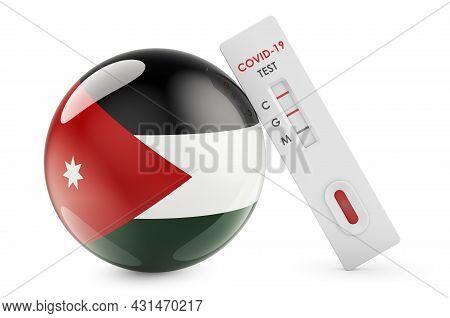 Diagnostic Test For Coronavirus In Jordan. Antibody Test Covid-19 With Jordanian Flag, 3d Rendering