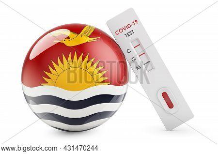 Diagnostic Test For Coronavirus In Kiribati. Antibody Test Covid-19 With Kiribatian Flag, 3d Renderi