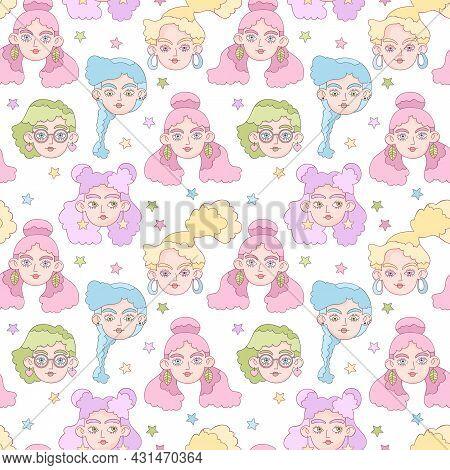Beautiful Girl. Cartoon Character. Crazy Hairstyle Model Art. Stars Print. Seamless Vector Pattern (