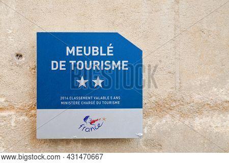 Bordeaux , Aquitaine  France - 08 25 2021 : Meuble De Tourisme Two Stars 2 French Quality Furnished