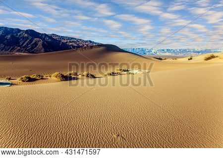 Picturesque part of Death Valley in California - Mesquite Flat Sand Dunes. USA. The gentle slopes of the sand dunes are covered with light ripples. Concept of active, ecological and photo tourism