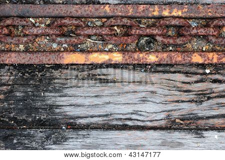 The Old Truck Floor With  Chain Line