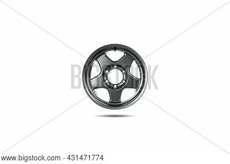 16-inch Five-spoke Alloy Wheels Isolated On White Background.