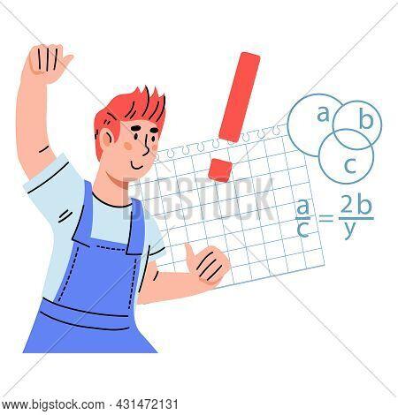 Smart Clever Schoolboy Having Solution For Mathematical Task, Flat Cartoon Vector Illustration Isola