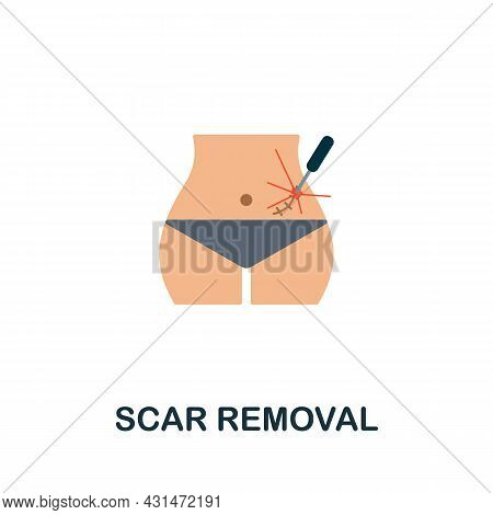 Scar Removal Flat Icon. Colored Sign From Plastic Surgery Collection. Creative Scar Removal Icon Ill