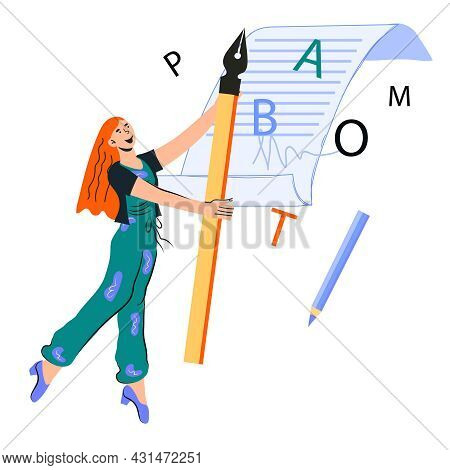 Woman Copywriter Cartoon Character With Huge Pen Writing Article, Flat Vector Illustration Isolated