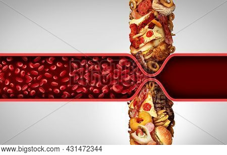 Blood Circulation And Cholesterol As Fatty Food Causing A Clogged Artery Or Human Vein As Greasy Fas