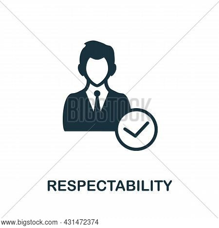 Respectability Flat Icon. Colored Sign From Positive Attitude Collection. Creative Respectability Ic