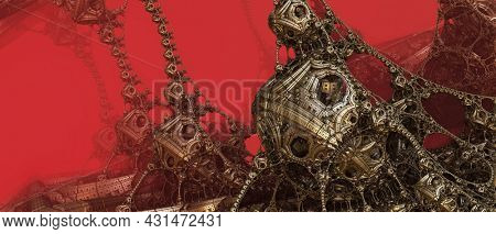 Abstract background, fantastic 3D alien structures, red dark and bloody fictional technology background.