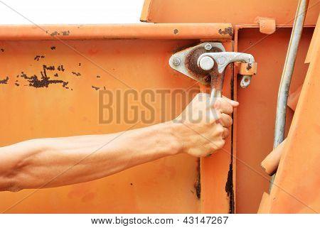 Try To Open The Old Truck Side Door