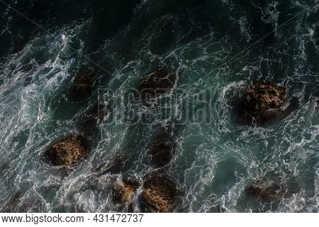 Ocean Wave Background Breaking Sea Water Rocky Shore Rough Seas Turquoise Water Gradient Foam. Big W