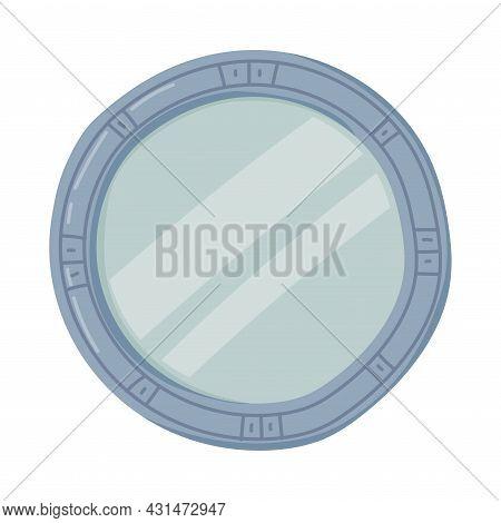 Round Mirror As Bathroom Or Washroom Interior Item Isolated On White Background Vector Illustration
