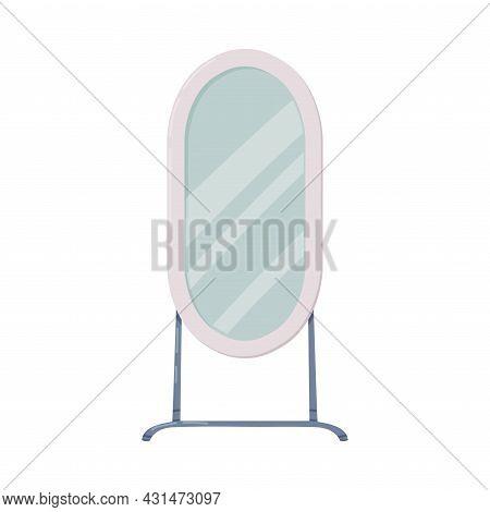 Floor Mirror As Bathroom Or Washroom Interior Item Isolated On White Background Vector Illustration