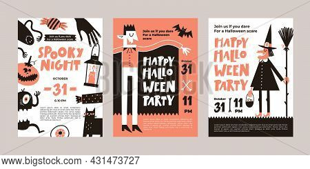 Vector Set Of Halloween Party Invitations Or Greeting Cards With Handwritten Text And Traditional Sy