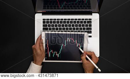 Crypto Bitcoin. Investment Business Technology App On Digital Screen. Finance Application For Sell,