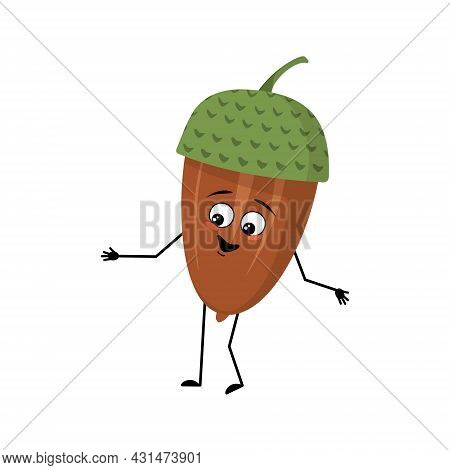 Character Acorn With Joyful Emotions, Smile Face, Happy Eyes, Arms And Legs. Cheerful Forest Plant,