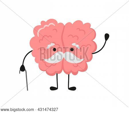 A Kawaii Old Brain Character With A Gray Mustache And Walking Stick. Symbol Of Alzheimer Disease, De